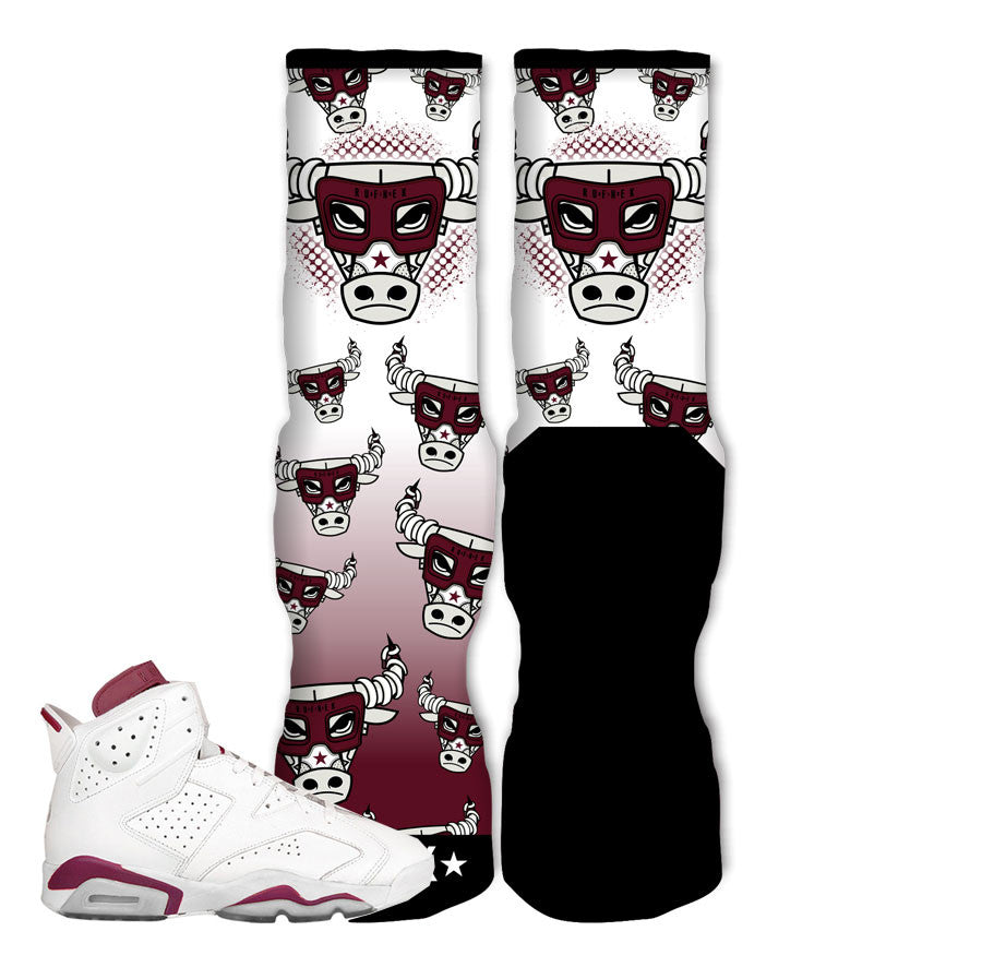 Jordan 6 Maroon Socks - War Bully