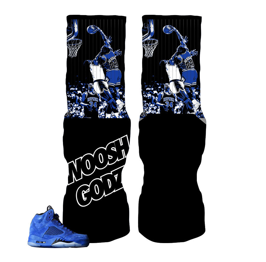 Jordan 5 blue suede socks match retro 5 sneakers.