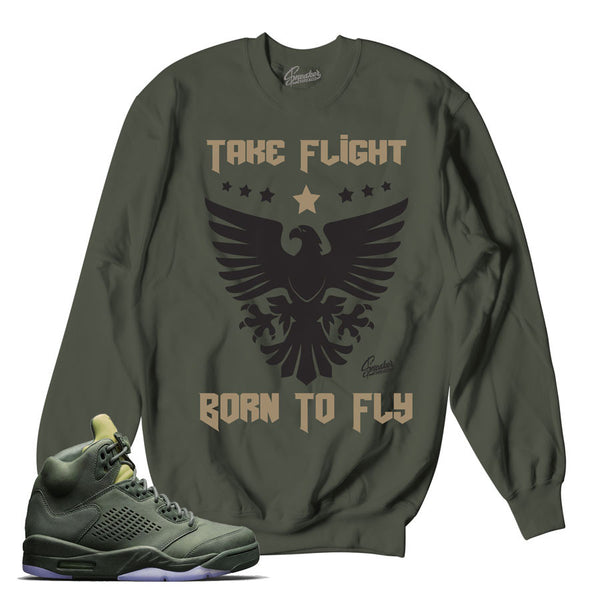 Jordan 5 Take Flight Sweater - Born To Fly - Green