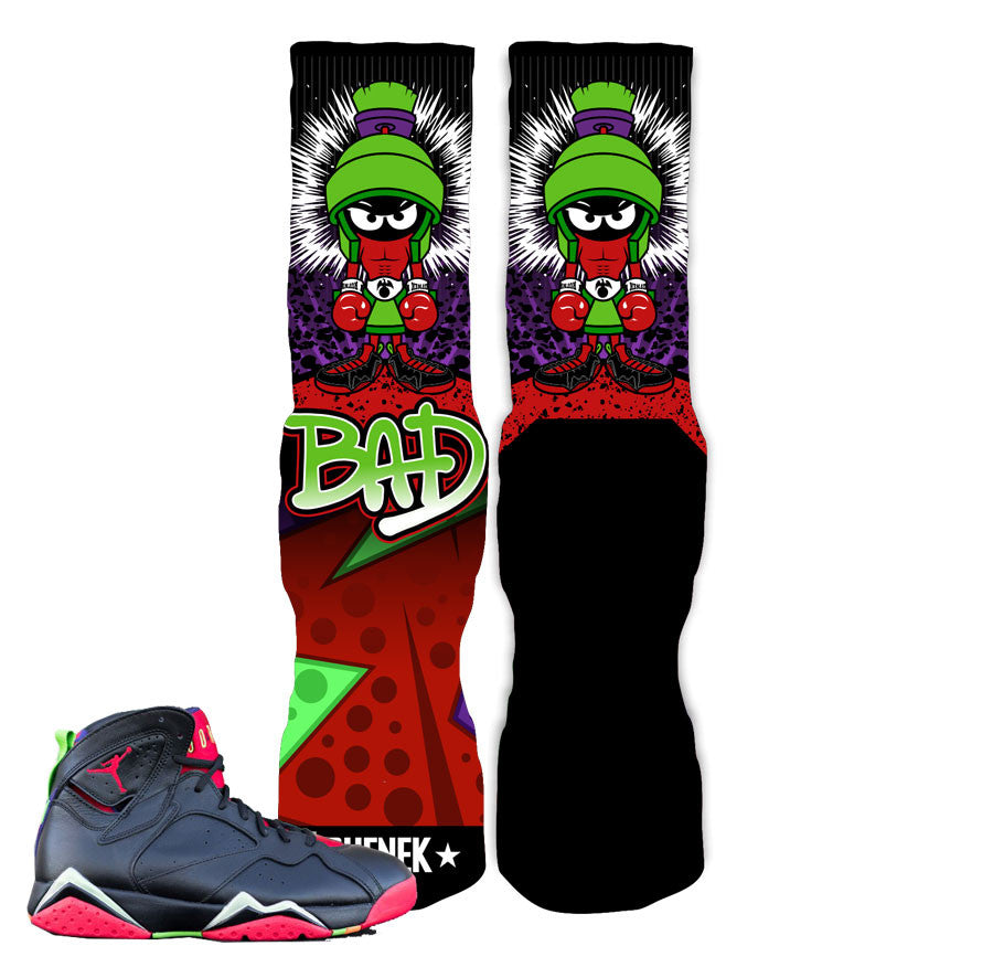 Elite socks to match Jordan 7 marvin the martian.