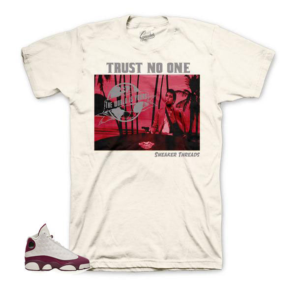 Bordeaux Jordan 13 tees and shirts to match sneakers.