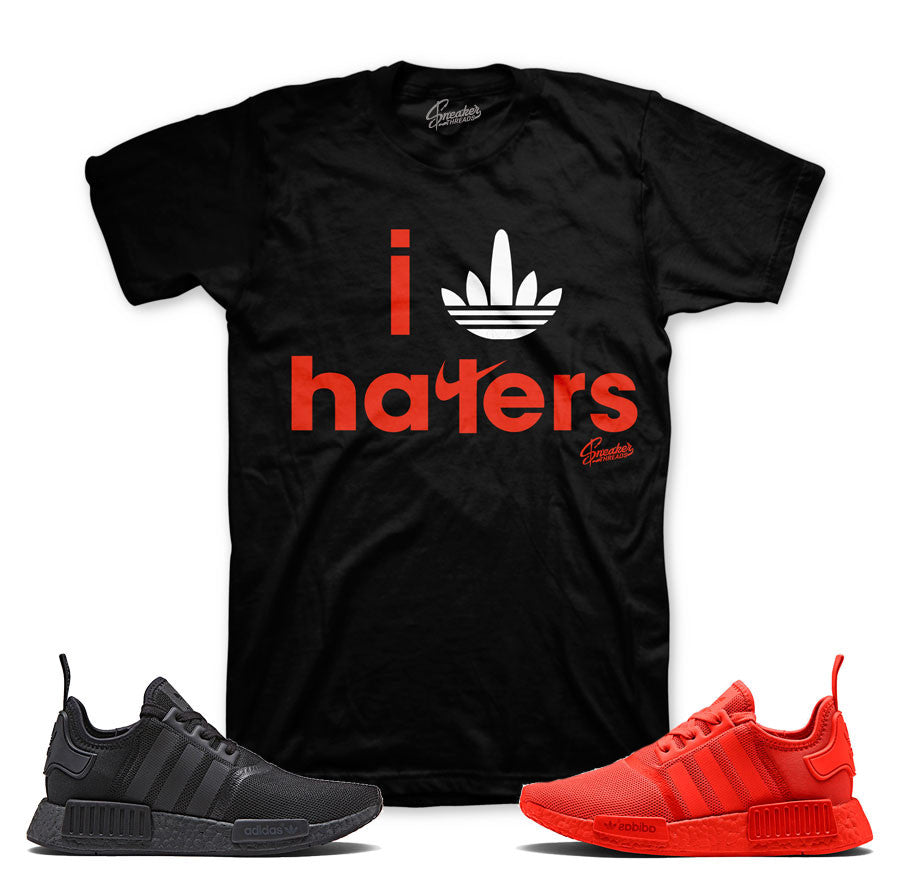 NMD solar red core black sneaker match tees shirts.