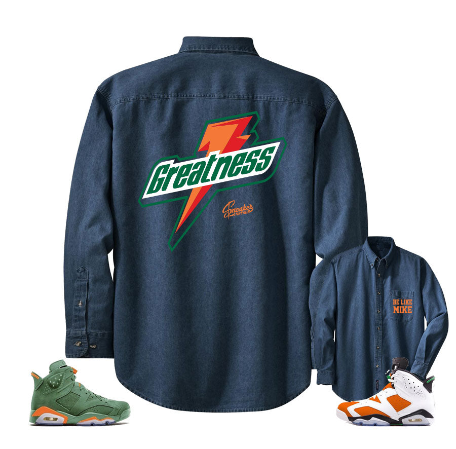 c7520c97b44b20 Denim shirt match Jordan 6 gatorade win like mike retro 6 s.