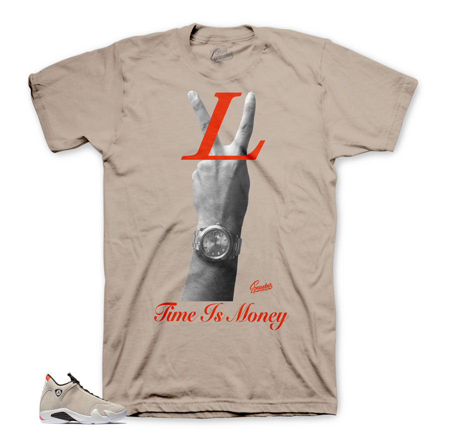 4005dcae263 Jordan 14 Desert Sand Time Is Money Hand Shirt | Official matching ...
