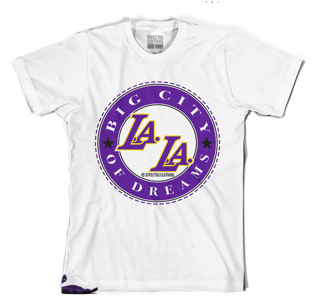 Jordan 13 lakers have matching tee shirts designed to match perfectly with the Jordan 13
