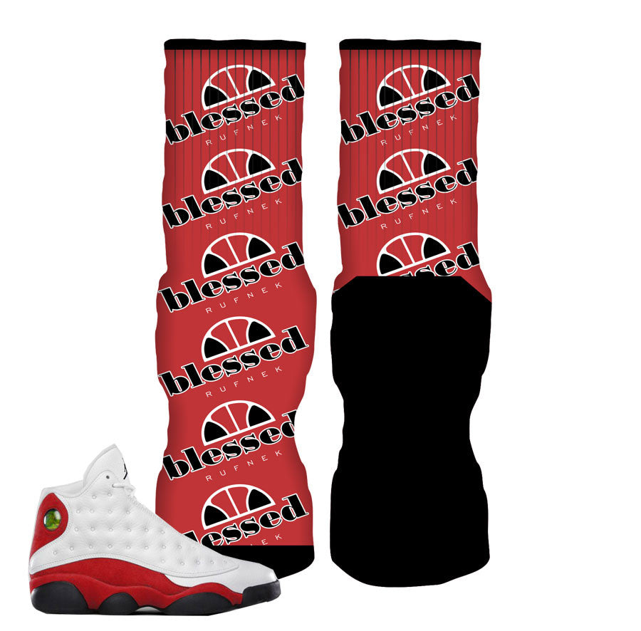 Jordan 13 True Red Socks - Blessed