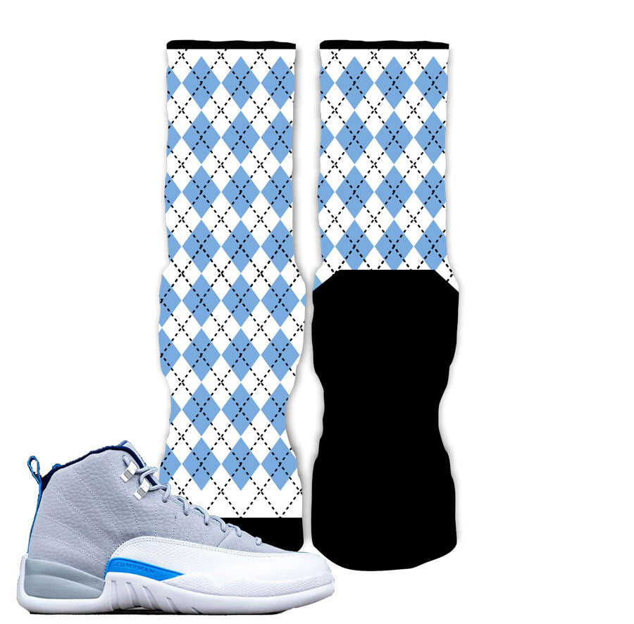 Jordan 12 Wolf Grey Socks - Argyle