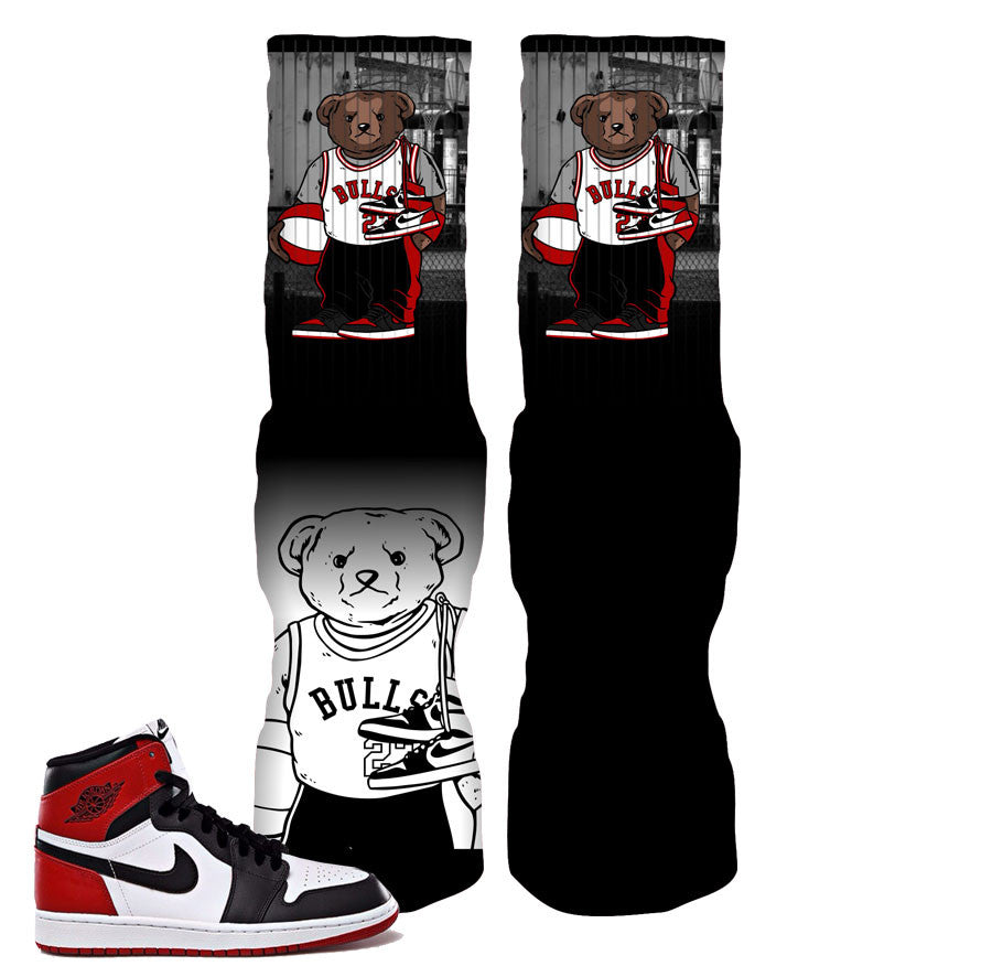 Socks match  Jordan 1 black toe retro 1 elite socks.