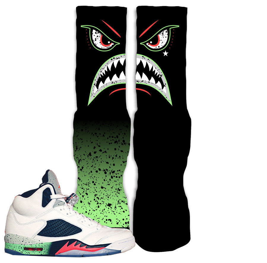 Jordan 5 space jam poison green sneaker match elite socks space jam 5.