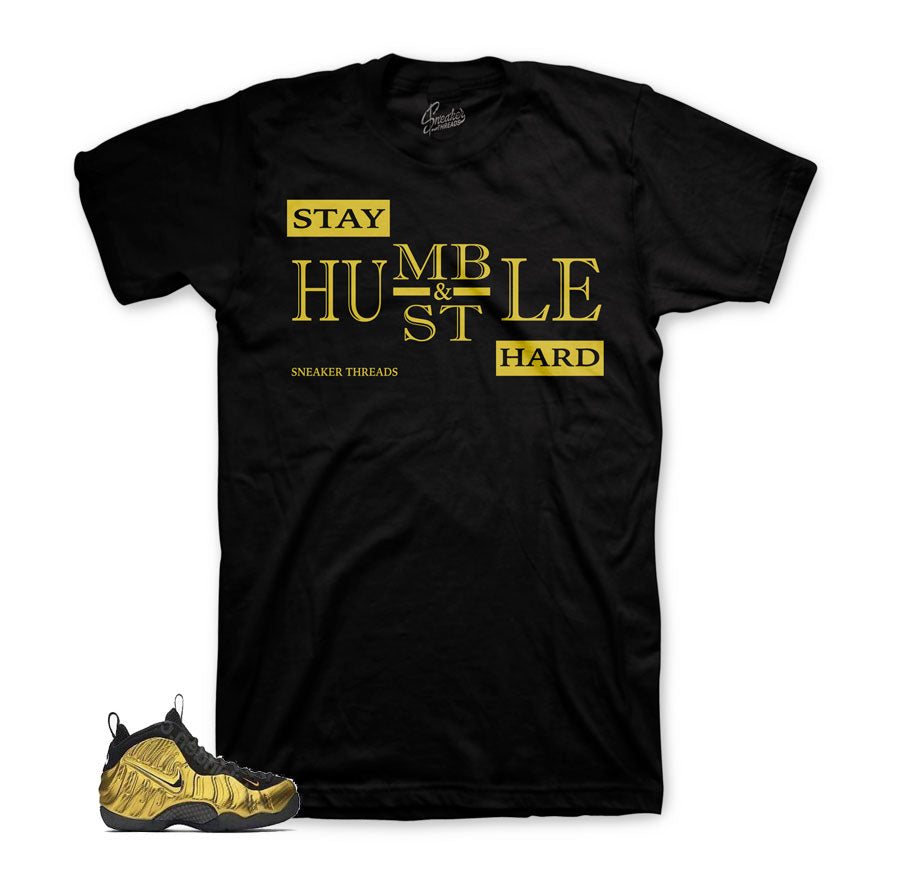 Foamposite metallic gold tees | Humble sneaker tees.