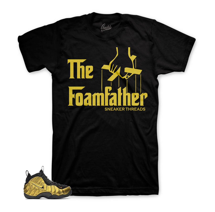 Foamposite metallic gold tees | Fancy foams sneaker tees.