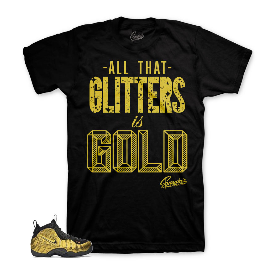 Foamposite metallic gold tees | gold foam clothing match.