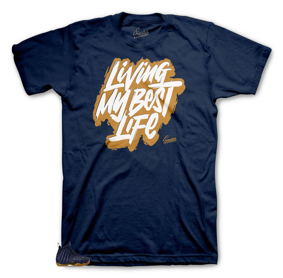 Foamposite Midnight Navy shoes | Midnight Navy Foamposite sneakers has tees that are made to match