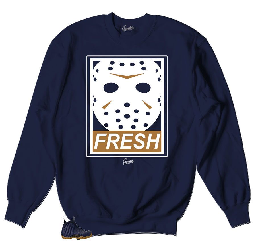 Foamposite Midnight Navy Sneakers match crewneck sweaters designed to match the sneaker Foamposite Midnight Navy
