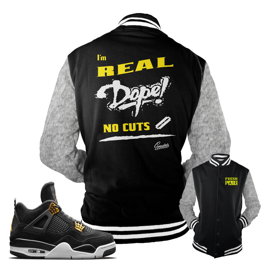 Jackets match Jordan 4 royalty sneaker match jacket.