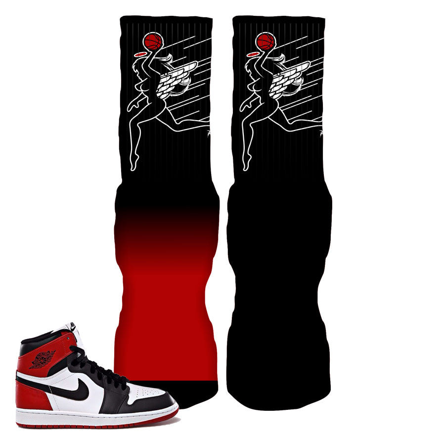 Jordan 1 black toe socks match retro 1 black toe elite socks.