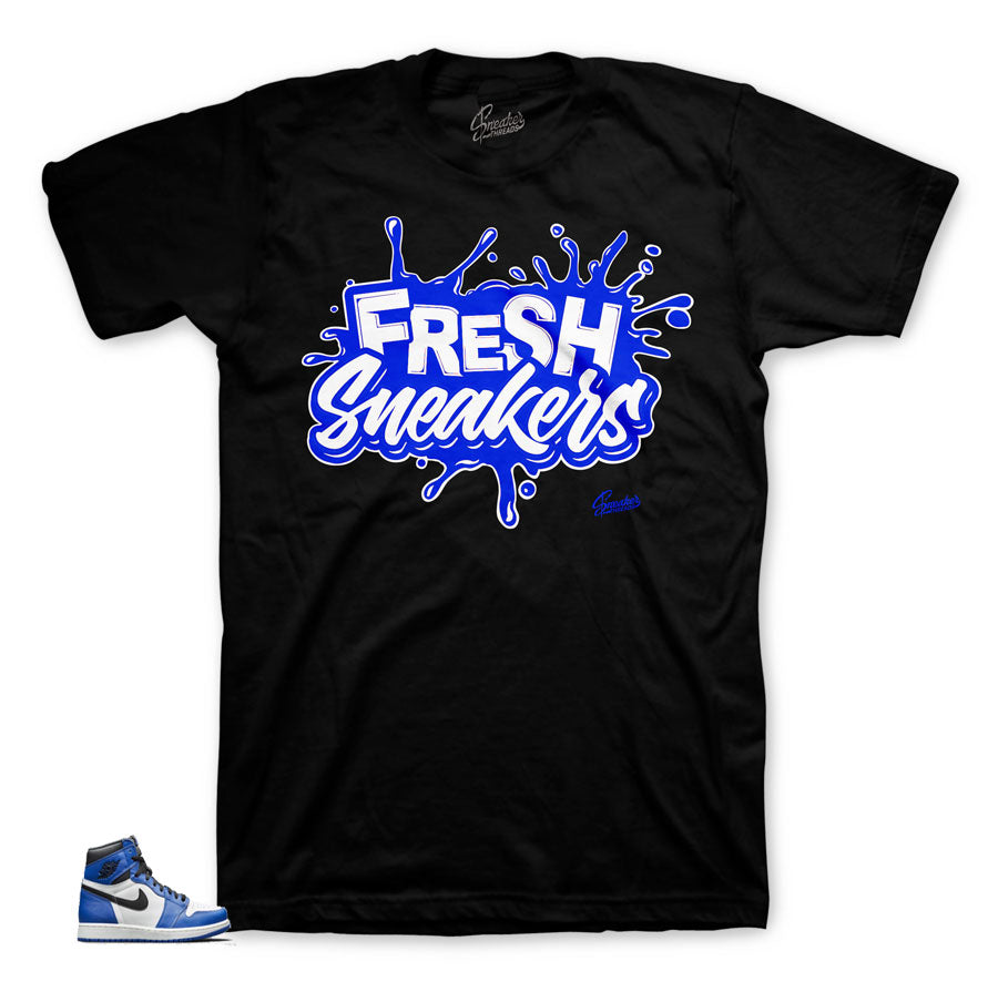 Official matching Jordan 1 game royals sneaker shirts and tees.