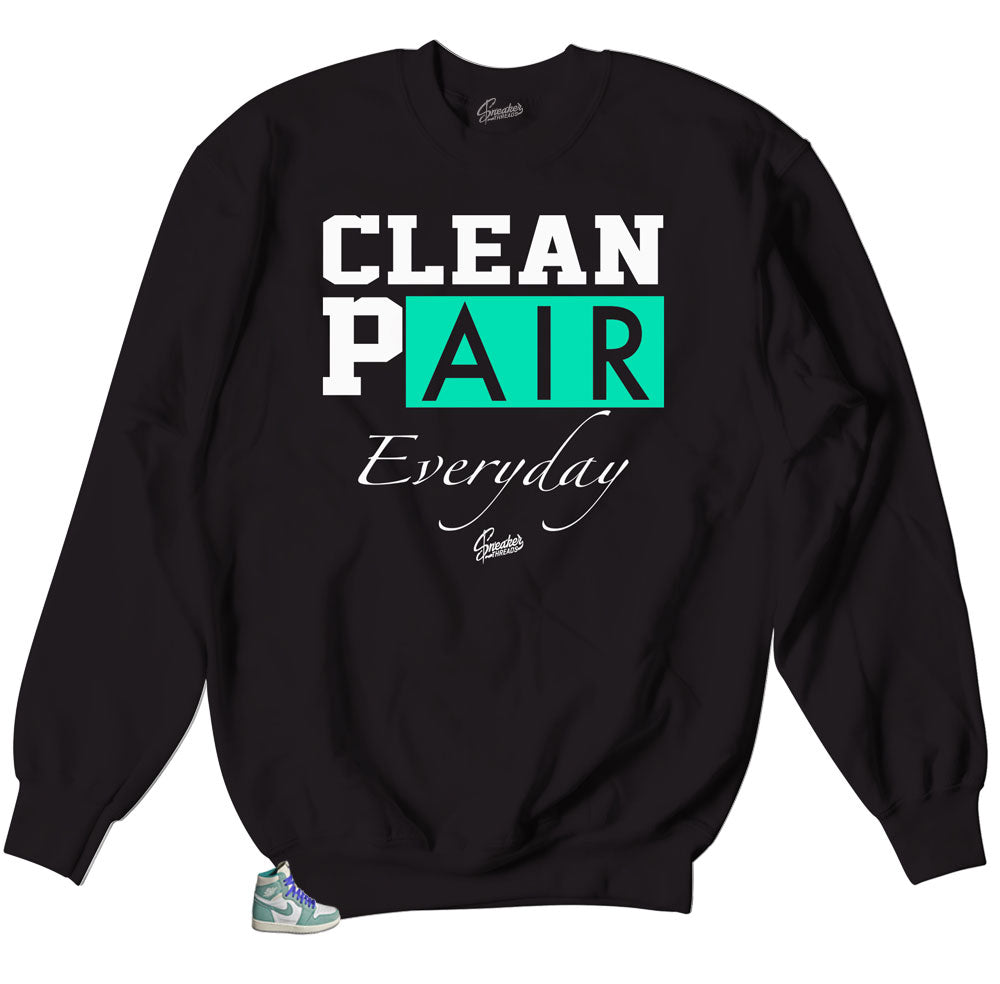 crewneck sweater matches Jordan 1 turbo green sneaker collection