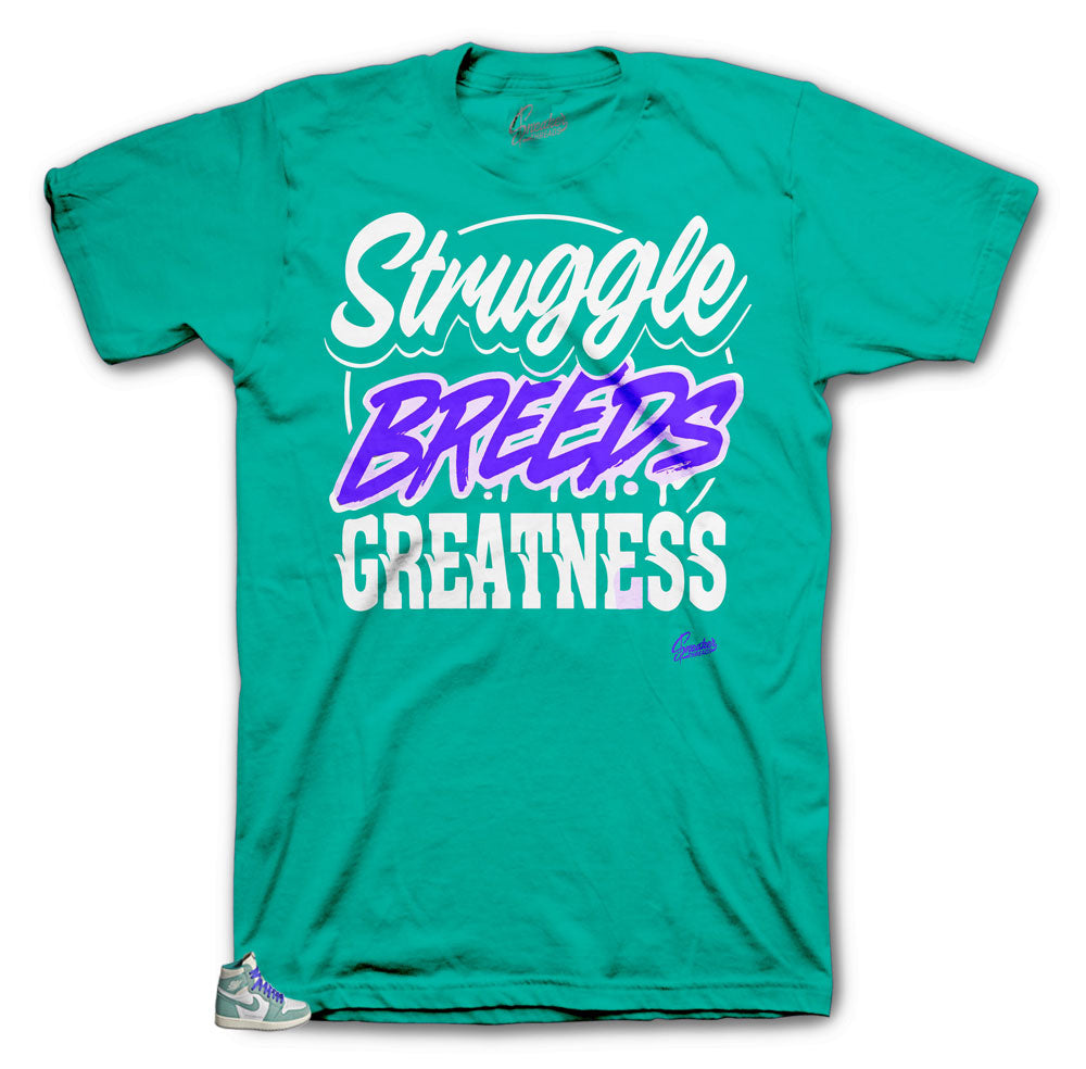 c65fe6e52e1 turbo green Jordan 1 sneaker that has a matching shirt collection ...