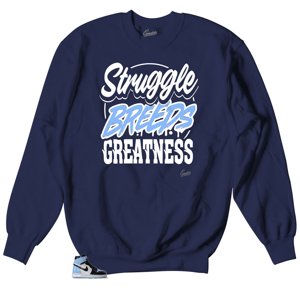 Crewneck sweaters made to match Jordan 1 unc patent leather sneakers