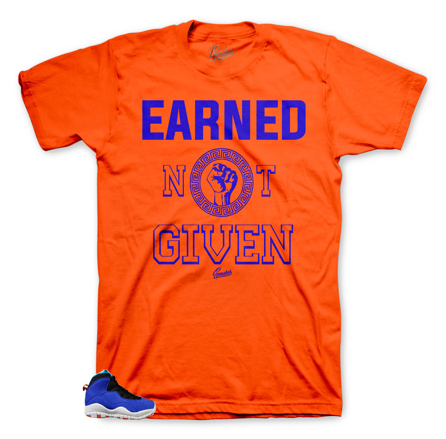 Earned Orange tee to match Jordan 10 Tinker Huarache