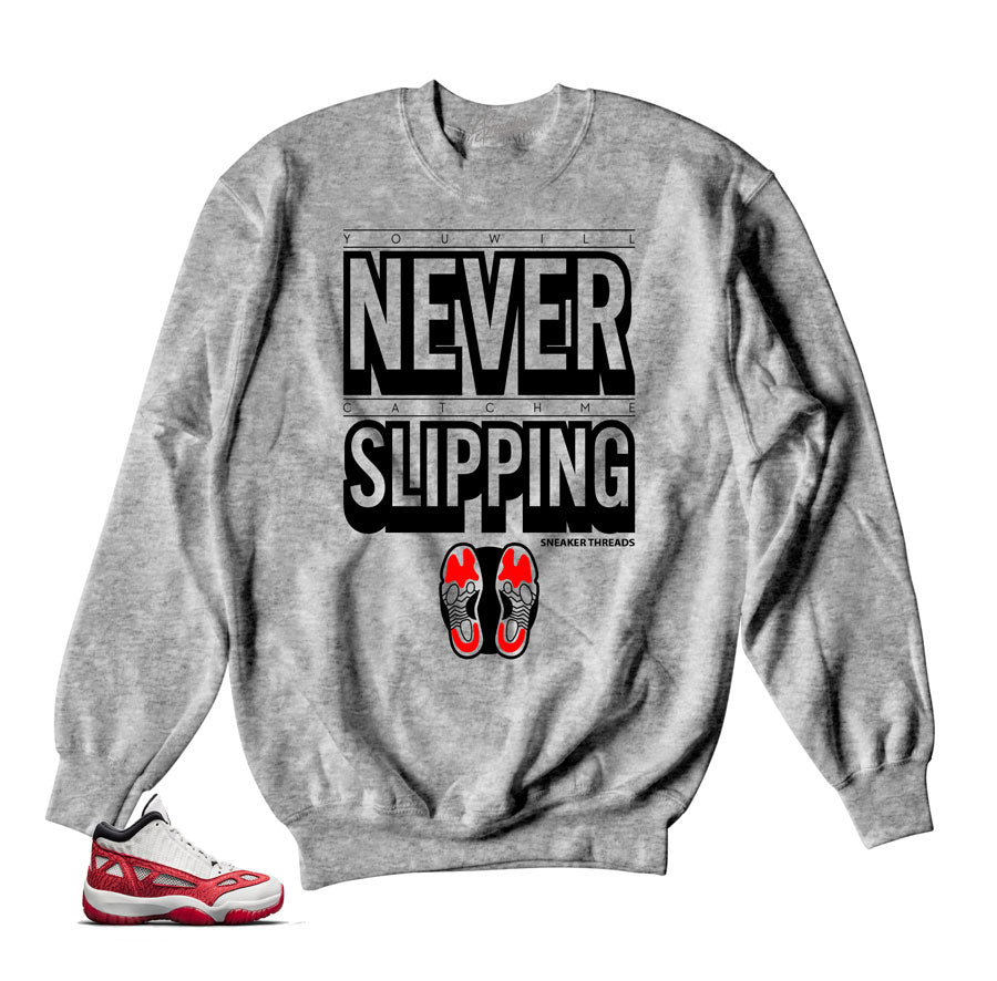 6a5824700c51df Home Jordan 11 Fire Red Sweater - Slipping - Grey. Share