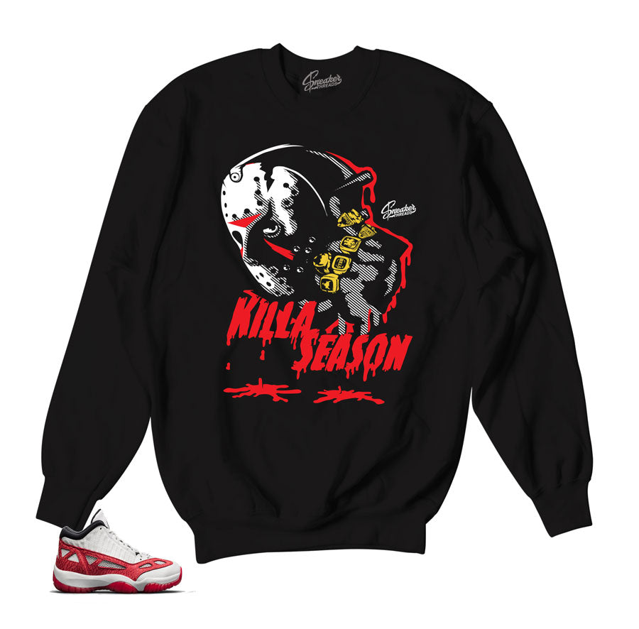 4f718fcfa6a1df Home Jordan 11 Fire Red Sweater - Killa Season - Black. Share
