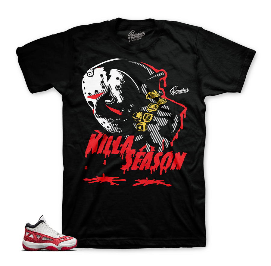 Jordan 11 fire red shirts match retro 11 sneaker match shirts.