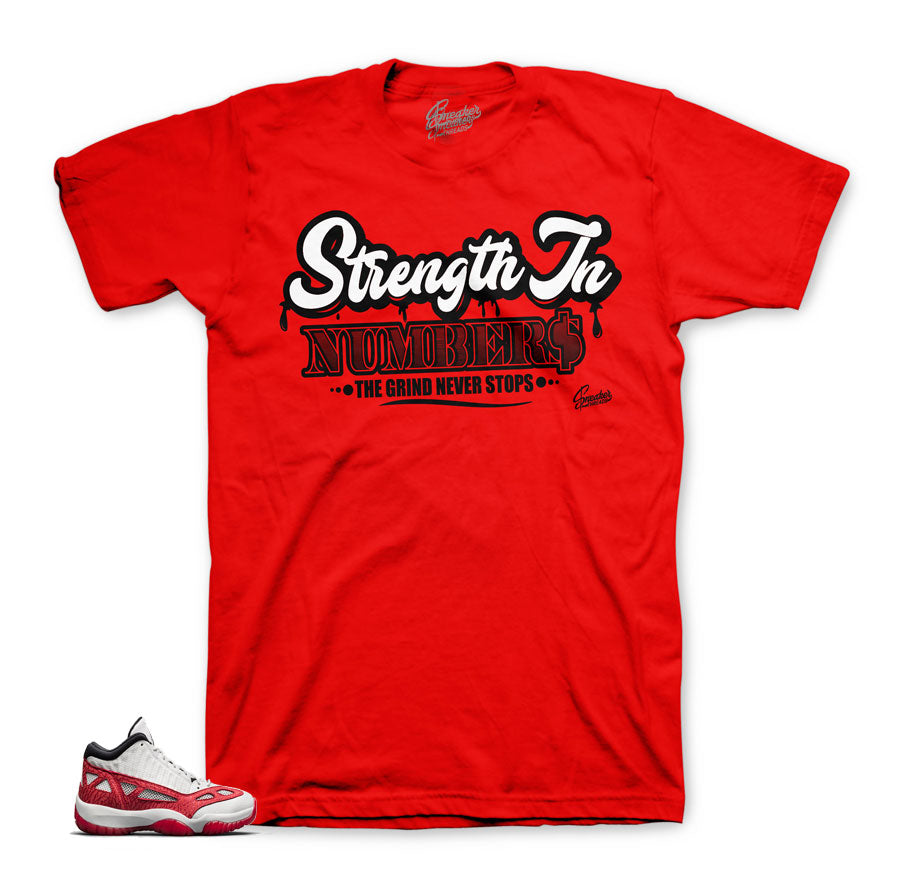 9832ec07ad4e4b Home Jordan 11 Fire Red Shirt - Strength In Numbers - Red. Share