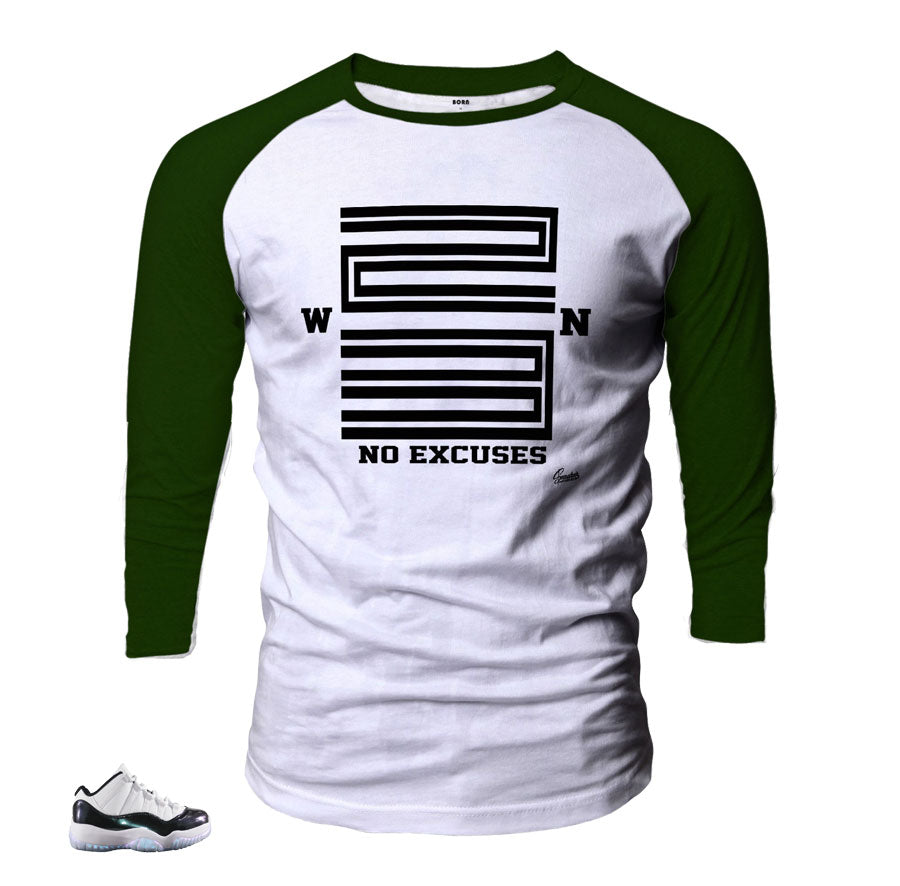 info for 81758 c2c04 Jordan 11 Easter Raglan Shirt - WIN 23 - Dark Green