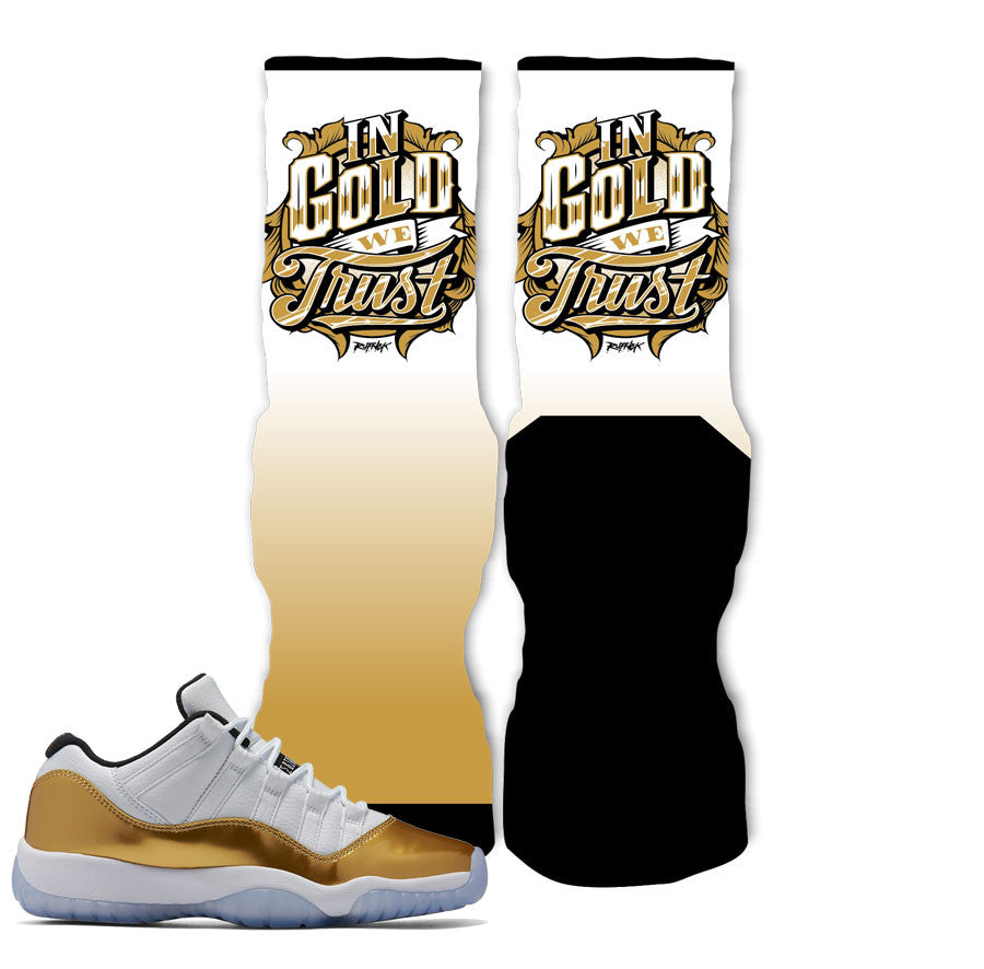 Jordan 11 Closing Ceremony Socks - In Gold We Trust