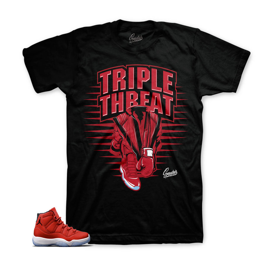 c6c016cbd58c4f Jordan 11 gym red official matching tees for Win Like 96.