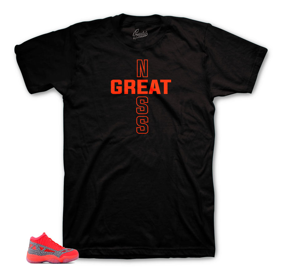 Jordan 11 ie flash crimson tees match retro 11 ie shoes.