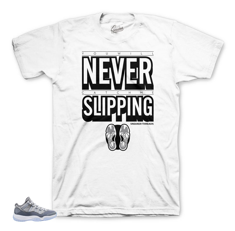 The best sneaker tees match Jordan 11 cool grey low sneakers.