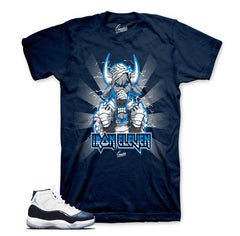 Midnight navy Jordan 11 shirts match retro 11's navy tees.