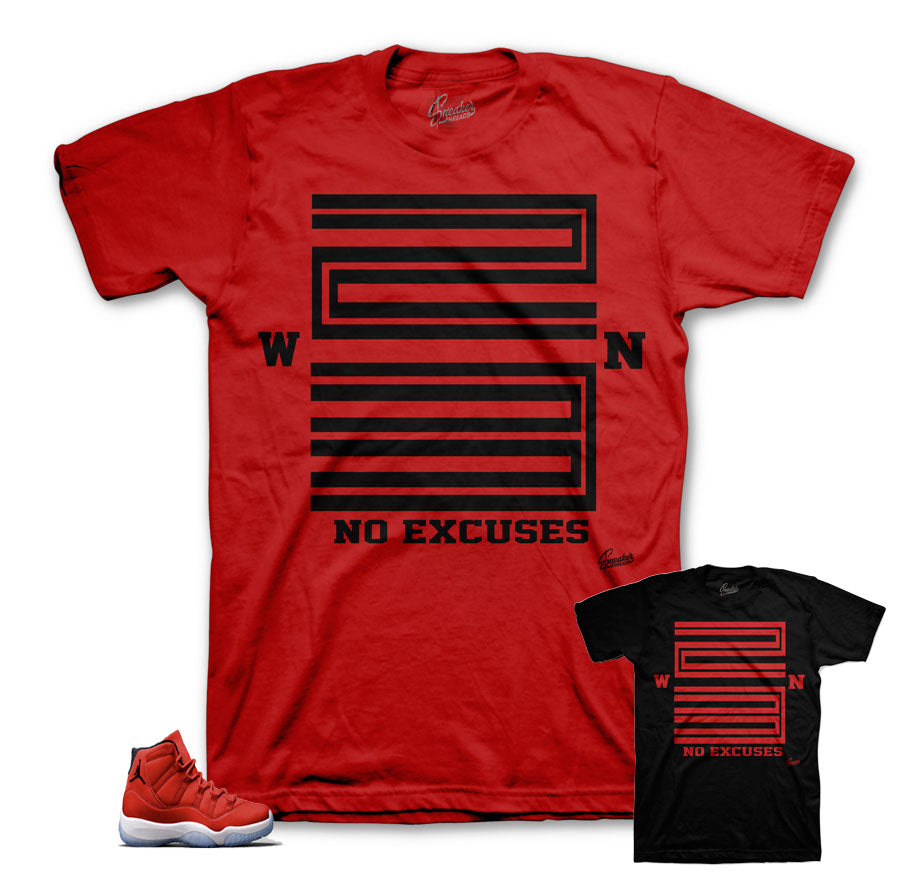 Win Like 96 shirts match retro 11 gym red shoes.