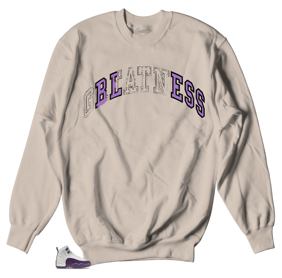 9916e816b9d37e Home Jordan 12 Pro Purple Sweater - Stitch - Sand. Share