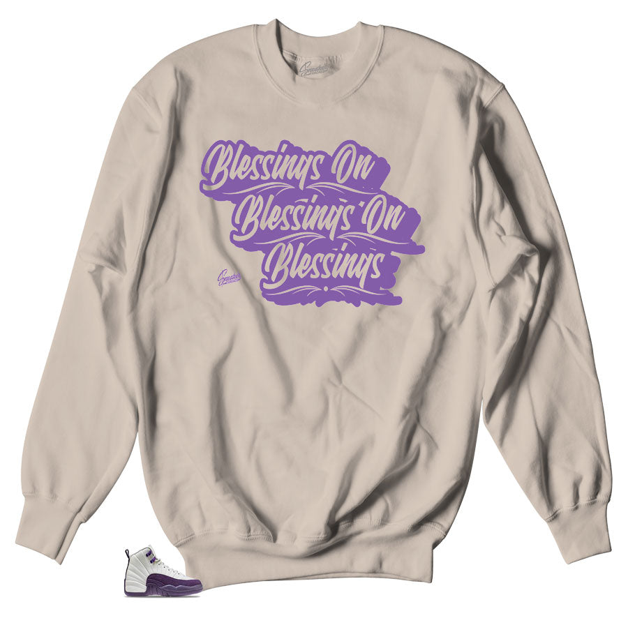 Tan crewnecks to fit for Jordan 12 Pro Purple