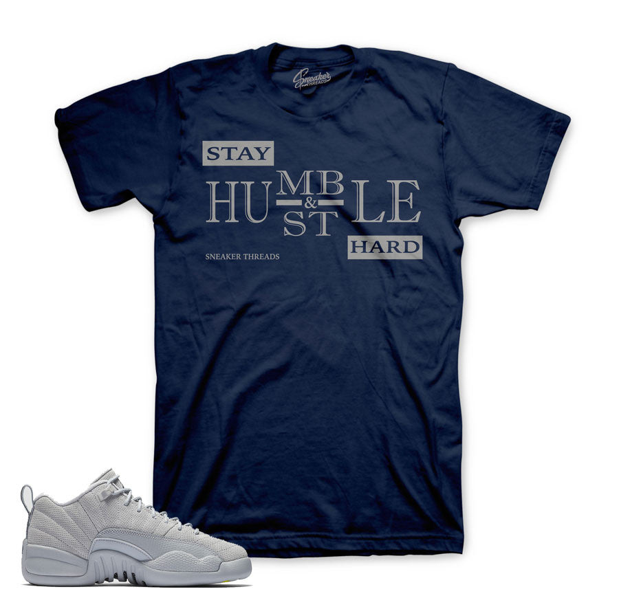 c79fe71c818f2f Jordan 12 Wolf Grey Shirt - Stay Humble - Navy
