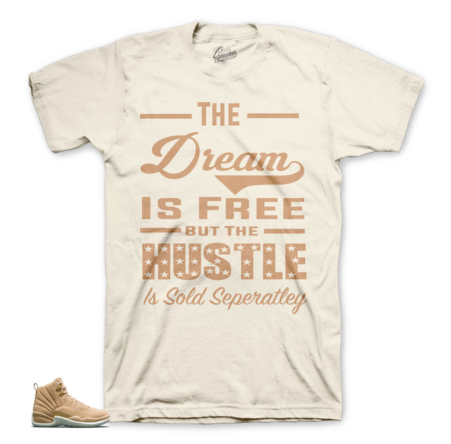 Vachetta tan Jordan 12 tees match retro 12 sneakers.