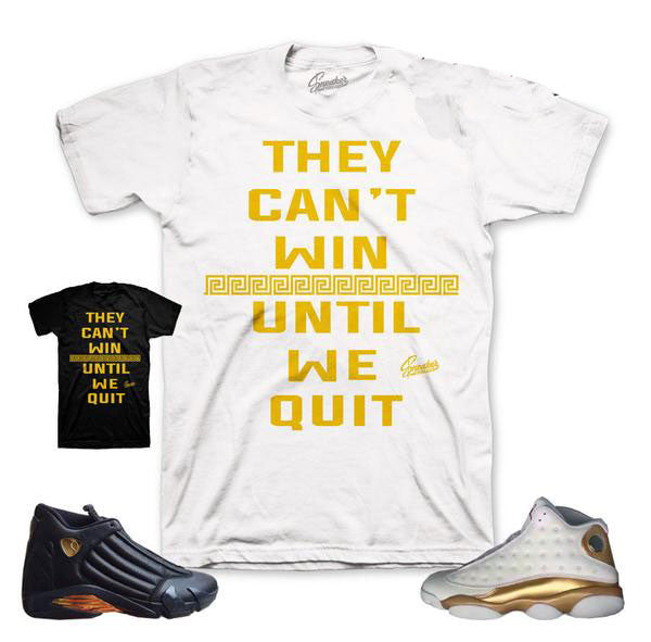 Shirt match Jordan 13 And 14 defining moments pack DMP tee.
