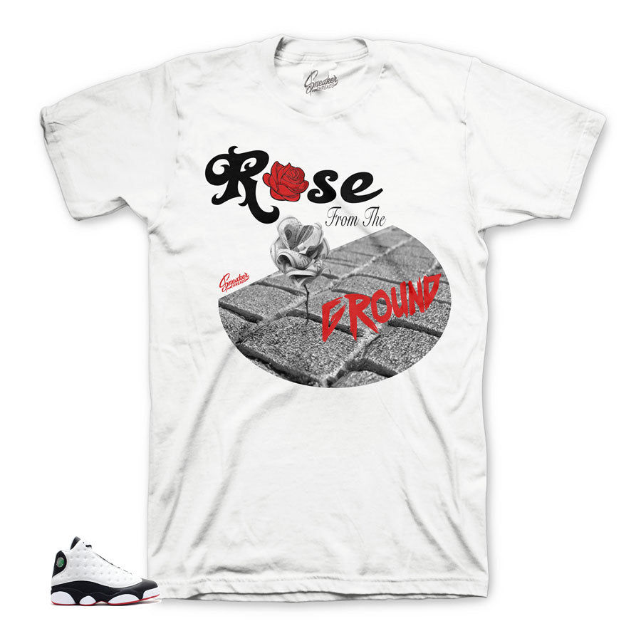 Jordan 13 He Got game Rose tee