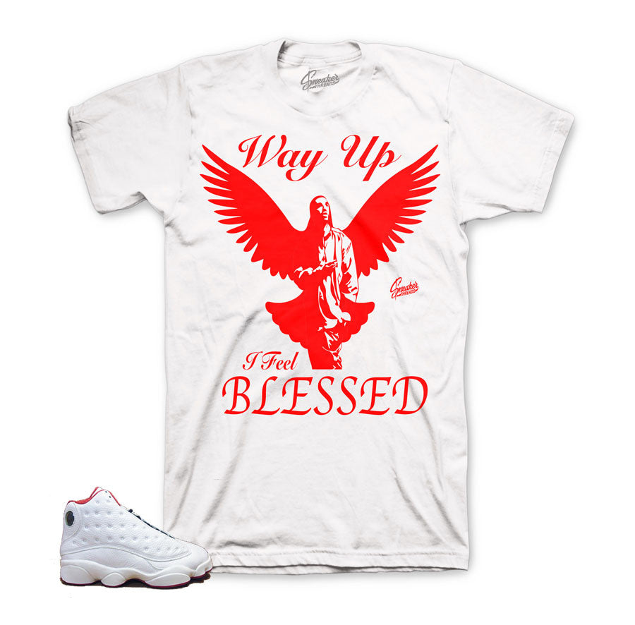 3ecd4ef4eff8 Home Jordan 13 HOF Shirt - Way Up - White. Share