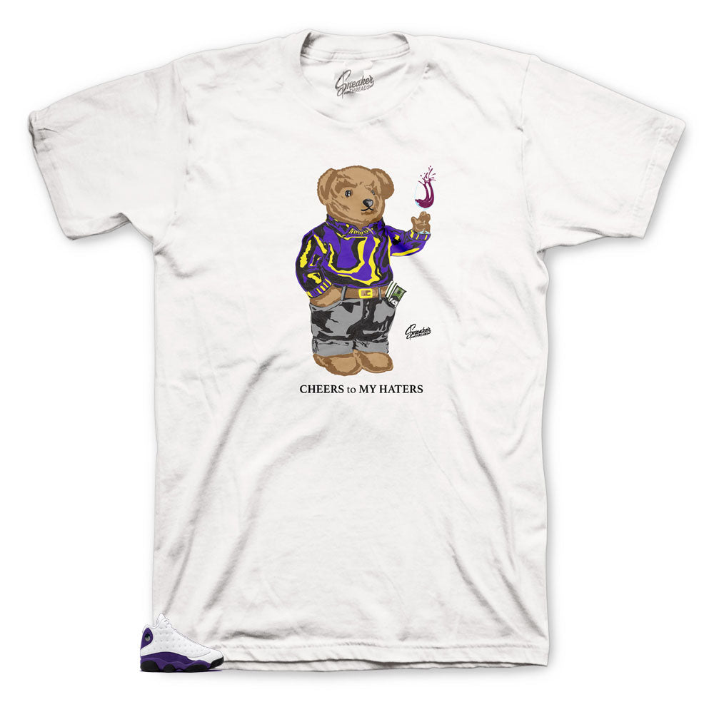 Jordan 13 Lakers Shirt - Cheers Bear - White