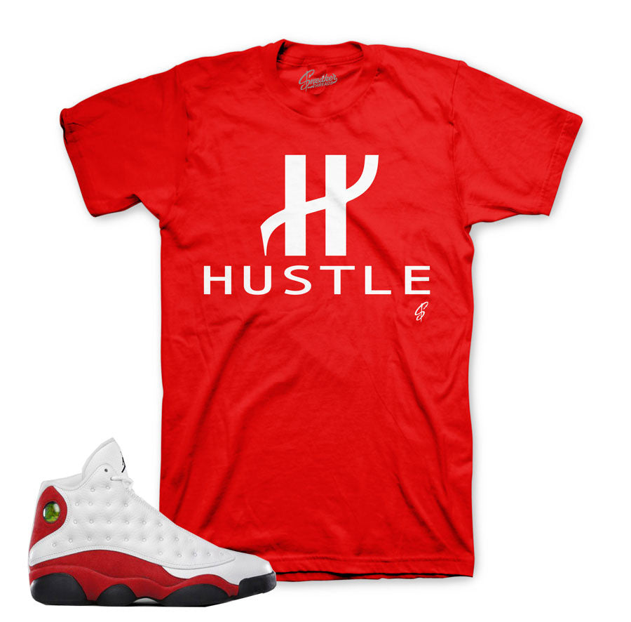 Match jordan 13 Og chicago tees retro 13's cherry red shirts.
