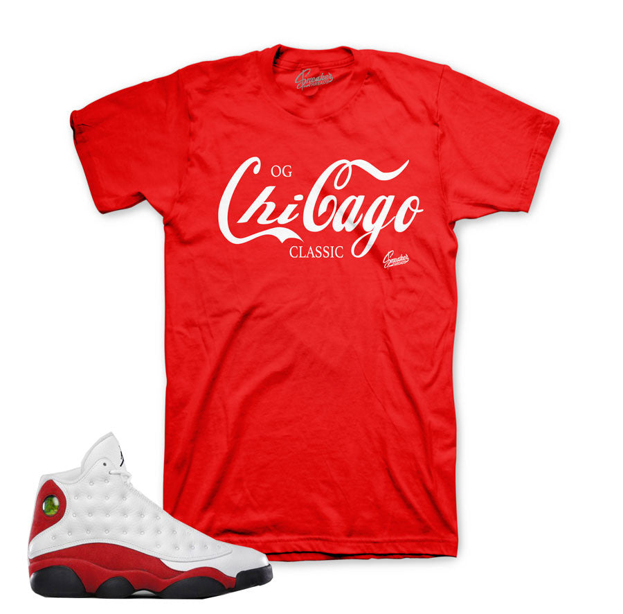 Jordan 13 OG Chicago tees match retro 13's shoes.