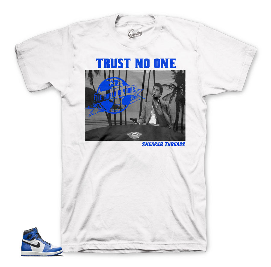 Game royals sneaker tees match Jordan retro 1 Og shoes.