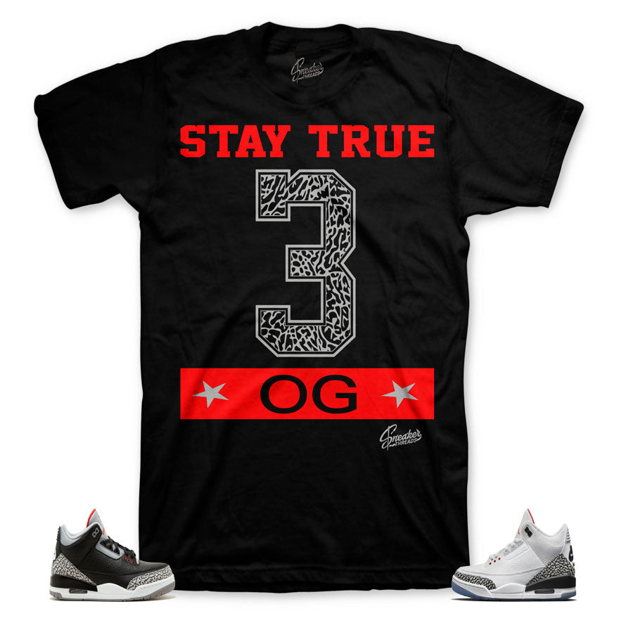 Jordan 3 black cement tees match | White cement 3 sneaker tees.
