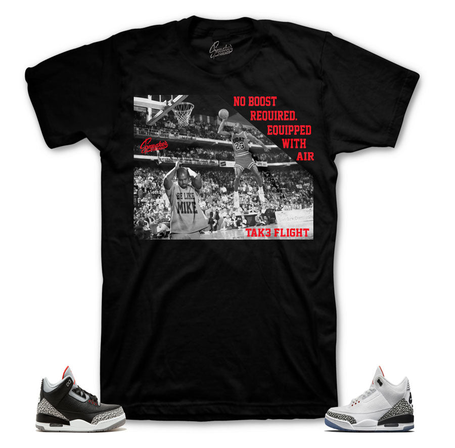 Black cament Jordan 3 Sneaker tees match retro 3 white cement shoes.