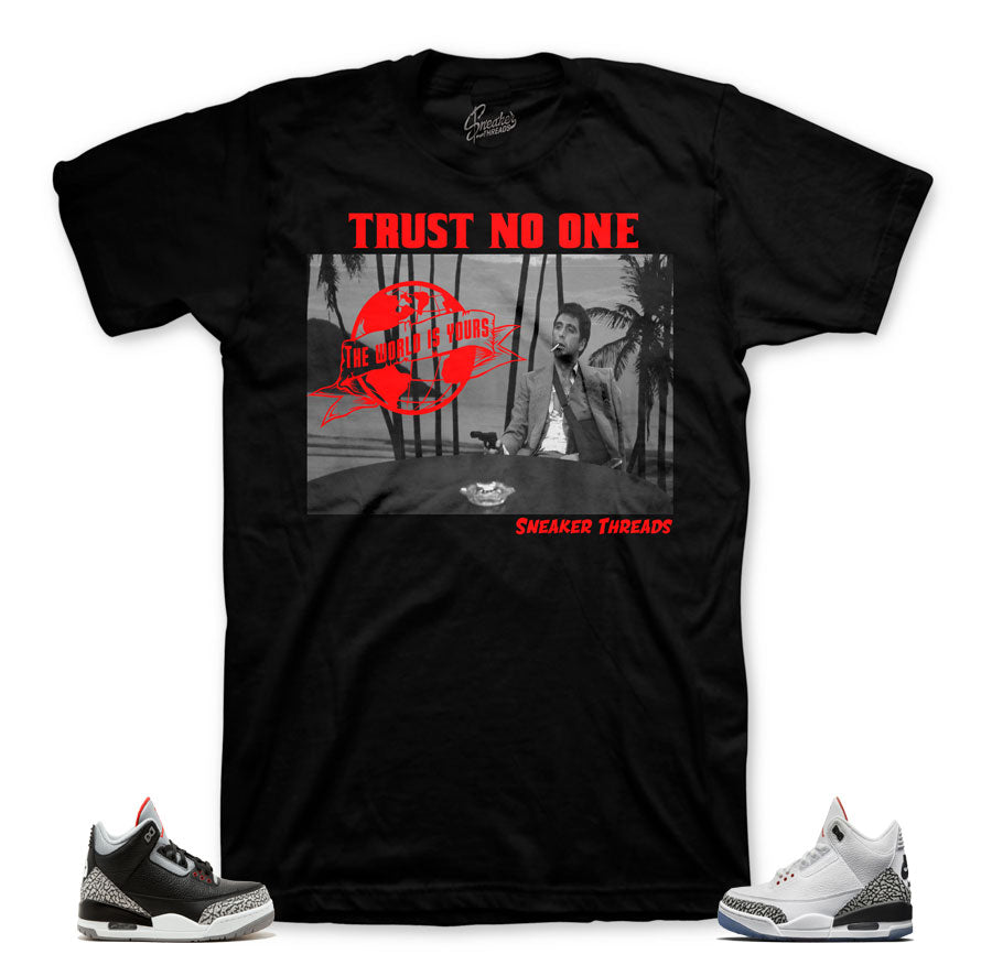 Jordan 3 black cement clothing | Pray for enemies shirt.